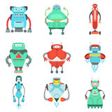 Different Cute Fantastic Robots Characters Collection Stock Photos