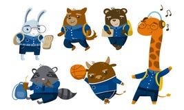 Different cute humanized animals in school uniform. Vector illustration.
