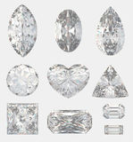 Different cuts of a diamonds. 3d illustration Stock Image