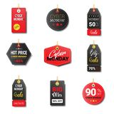 Different Cyber Monday Sale Tags Set Isolated Icons Collection Online Shopping Discount Logo Design Stock Photography