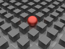 Different. 3D image of allegory, representing standing out of the crowd Stock Photos
