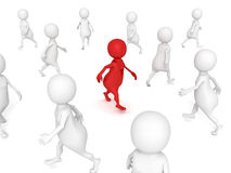 Different 3d man walks in others crowd Royalty Free Stock Image