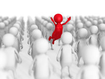 Different 3d Person Out From Crowd. Leadership Concept Stock Photos