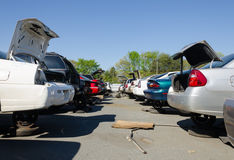 Different damaged cars on a junk yard Royalty Free Stock Image