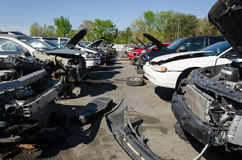 Different damaged cars on a junk yard Stock Photo