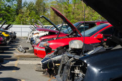 Different damaged cars on a junk yard Royalty Free Stock Images