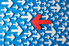 Different decision. Concept of confused with different direction arrows stock illustration