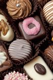 Different Decorated Chocolate bonbons Stock Photos