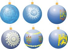 Different decoration on Christmas tree. Six different decoration on Christmas tree with Ukraine national emblem and symbols Vector Illustration