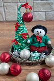 Different decorations for the celebration of the Christmas and New Year. Stock Images