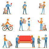 Different Delivery Service Workers And Clients, Smiling Couriers Delivering Packages And Movers Bringing Furniture Set. Of Illustrations. Vector Cartoon Stock Photos