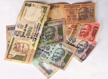Different denominations of Indian rupee notes Royalty Free Stock Photos