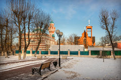 Different denominations of Tver. The mosque and church in Tver in a winter sunny day Royalty Free Stock Photos