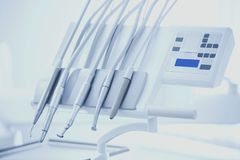 Different dental instruments and tools in a dentists office. Royalty Free Stock Photo
