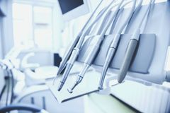 Different dental instruments and tools in a dentists office. Stock Photos