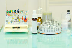 Different dentist`s tools and meds Stock Photo