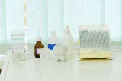 Different dentist`s tools and meds Royalty Free Stock Images