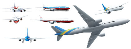 Different design of airplanes Stock Photos