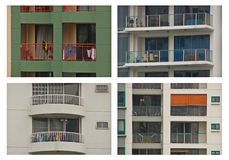 Different Design of Apartment Balcony Photo Collag stock images