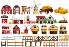 Different design of barns and fences. Illustration Royalty Free Stock Photo