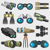 Different design binocular glasses look-see military, travel zoom search ocular equipment vector illustration Stock Image