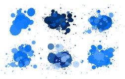 Different design fo watercolor splash in blue. Illustration Stock Photos