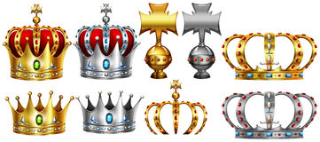 Different design of gold and silver crown Stock Photography