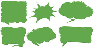 Different design of speech bubble templates in green Stock Image
