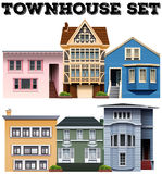 Different design of townhouses Stock Image
