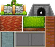 Different design of wall and footpaths Royalty Free Stock Images