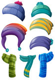 Different design of winter hats and scarfs Stock Photo