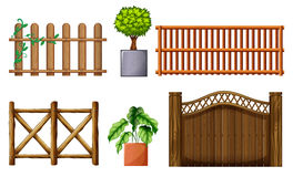 Different design of wooden fences Royalty Free Stock Photography