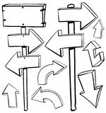Different designs of arrows and boards royalty free illustration
