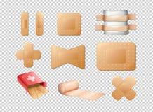 Different designs of bandages on transparent background. Illustration Stock Photos