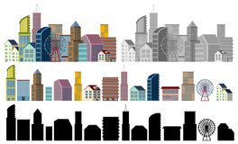 Different designs of buildings on white background. Illustration Stock Photos
