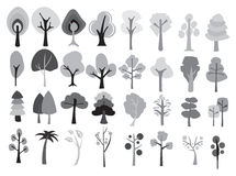 Different Designs of Cartoon Trees in Shades of Grey Royalty Free Stock Photos