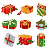Different designs of Christmas present boxes Royalty Free Stock Photos