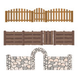 Different designs of fences and gates isolated vector. Royalty Free Stock Photography