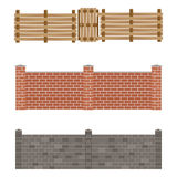 Different designs of fences and gates  vector. Royalty Free Stock Photo