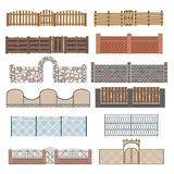 Different designs of fences and gates  on Stock Photo