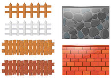 Different designs of fences and walls Stock Photography