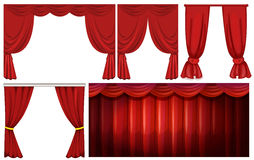 Different designs of red curtain Stock Image