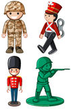 Different designs of toy soldiers Royalty Free Stock Photo