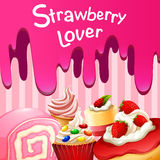 Different desserts with strawberry flavor Royalty Free Stock Photography