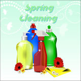 Different detergents with flowers on pastel background Stock Image