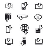 Different devices downloading line icons Stock Images