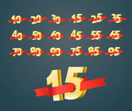 Different digits with ribbons. Sale banner vector illustration