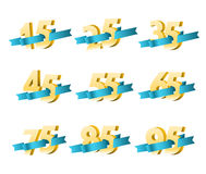 Different digits with ribbons Stock Photo