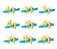 Different digits with ribbons Stock Images