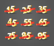 Different digits with ribbons Royalty Free Stock Images